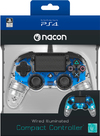 Nacon - Wired Illuminated Compact Controller - Clear Blue (PS4)