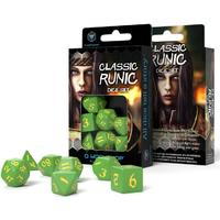 Q-Workshop - Set of 7 Polyhedral Dice - Classic Runic Green & Yellow