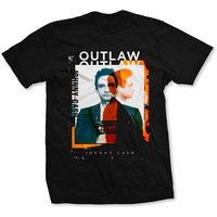 Johnny Cash Outlaw Photo Men's Black T-Shirt (Large) - Cover