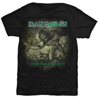 Iron Maiden Fear to Eternity Distressed Men's Black T-Shirt (XX-Large) - Cover