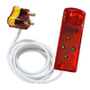 Ellies 5m 4-Way Surge Secure Power Protector Extension Cable - White and Red