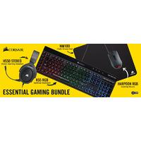 Corsair 4in1 Essential Gaming Bundle (RGB K55 Gaming Keyboard + HS50 Gaming Headset + Harpoon RGB Gaming Mice + MM100 Cloth Mousepad)