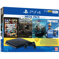 PlayStation Slim 500GB MEGA PACK Console + GTA V (PS4), God of War (PS4), Days Gone (PS4) + 3 Months PSN Voucher (PS4)