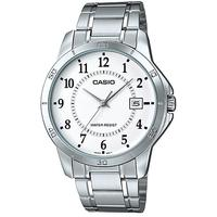 Casio Enticer Series Stainless Steel Mens Analog Wrist Watch - Silver and White