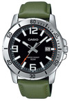 Casio Enticer Series Analog Mens Wrist Watch - Silver and Green