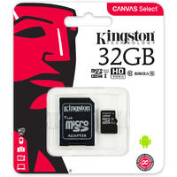 Kingston Technology - Canvas Select SDCS/32GB MicroSDClass 10 UHS-I 32GB Memory Card (SD Adapter Included)