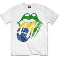 The Rolling Stones - Brazil Tongue Men's T-Shirt - White (Small) - Cover