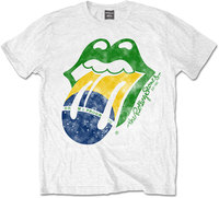 The Rolling Stones - Brazil Tongue Men's T-Shirt - White (X-Large) - Cover