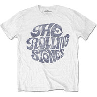 The Rolling Stones - Vintage 70s Logo Men's T-Shirt - White (Large) - Cover