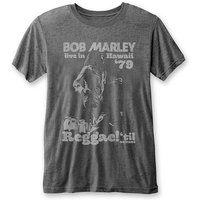 Bob Marley - Hawaii Burnout Men's T-Shirt - Charcoal (X-Large) - Cover