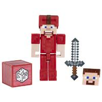 "Minecraft - 3.25"" Comic Figure Steve In Red Leather Armor"
