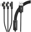 Orico - Right-Angled 3-in-1 USB to Lightning|TypeC|Micro USB Cable – Black
