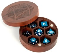 Metallic Dice Games - Wood Round Chest Dice Case - Purple Heart - Cover
