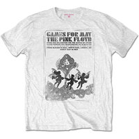 Pink Floyd - Games For May B&W Unisex T-Shirt - White (Small) - Cover