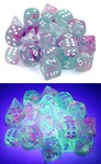 Chessex - Set of 12 - D6: 16mm  - Wisteria/White Luminary