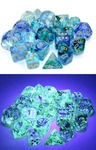 Chessex - Set of 12 - D6: 16mm - Nebula Oceanic/Gold Luminary