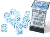 Chessex - Set of 12 - D6: 16mm - Icicle/Light Blue Luminary