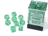 Chessex - Set of 36 - D6: 12mm - Borealis Light Green/Gold