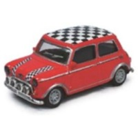 Cararama - 1/72 - Mini Cooper - Red, Chequered Roof & Bonnet Stripes (Die Cast Model)