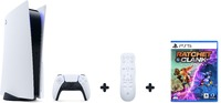 Sony PlayStation 5 - Console with Ultra HD Blu-ray Optical Drive + Media Remote + Ratchet & Clank: Rift Apart (PS5 Full Retail Boxed Game) - 825GB SSD - Glacier White (PS5) - Cover