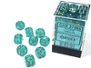 Chessex - 12mm D6 36 Dice  Block - Borealis Teal with Gold
