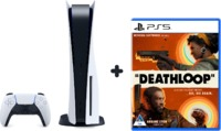 Sony PlayStation 5 - Console with Ultra HD Blu-ray Optical Drive + Deathloop (PS5) - 825GB SSD - Glacier White (PS5) - Cover