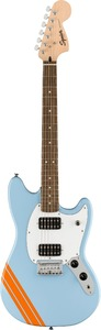 Squier FSR Bullet Competition Mustang Electric Guitar (Daphne Blue with Orange Stripes) - Cover