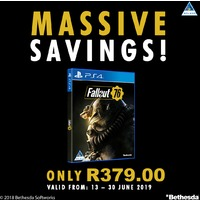 Fallout 76 (PS4/Xbox One) On Promotion. Ends 30 June 2019.
