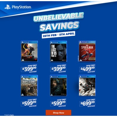 Sony Games - Summer Sale Now On - 25 February to 5 April 2021