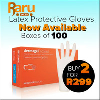 Mercator Medical - DermaGEL Coated Natural Latex Examination & Protective (Pack of 100 Gloves) (Large) Was R199 Now R169