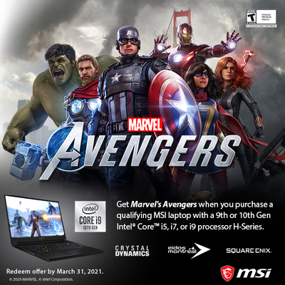 Get Marvel's Avengers (PC) Free with Selected MSi notebooks