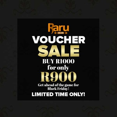 Buy a Raru Gift Voucher for R 1,000 and only pay R 900