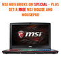 MSI Notebooks On Special - Plus Get A Free MSI Mouse & Mousepad - Thumbnail