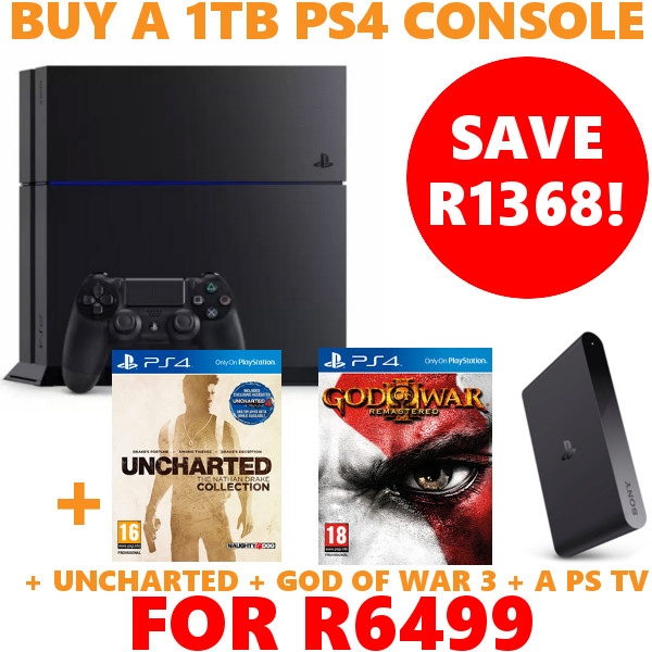 news ps4 10 day promo buy a ps4 1tb console ps tv uncharted god of war 3 for r6499. Black Bedroom Furniture Sets. Home Design Ideas